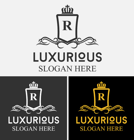 royal: Luxurious Royal Logo Vector Re-sizable Design Template Suitable For Businesses and Product Names, Luxury industry like Resort, Spa, Hotel, Wedding, Restaurant and Real estate.