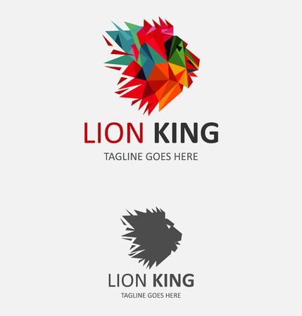 dimond: Lion Colorful head pattern vector Logo