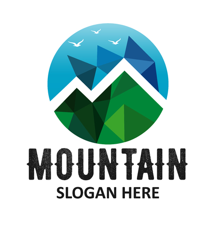 hiking trail: Mountains logo design vector template Illustration