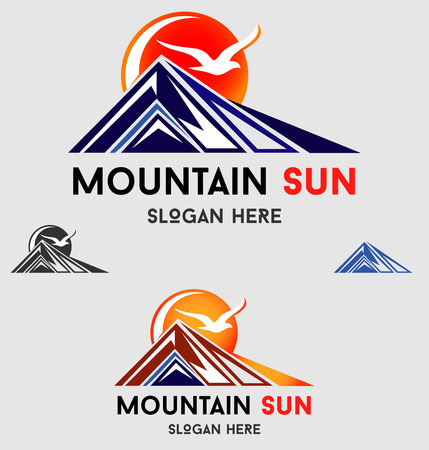 Tourism travel icon template. Creative shape mountains. Vector illustration. Illustration