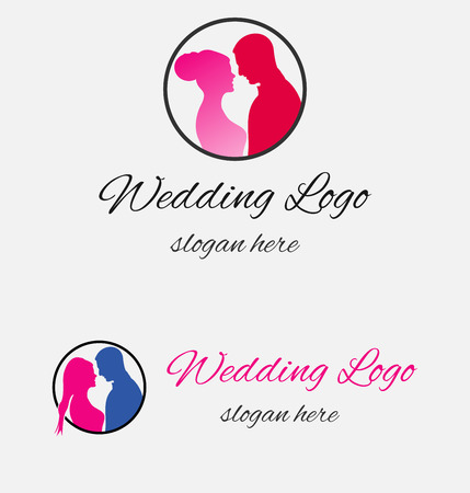 Vector wedding logo design template, marriage couple ceremony symbol Illusztráció