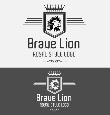 Royal Luxury Brave Lion Crest Logo