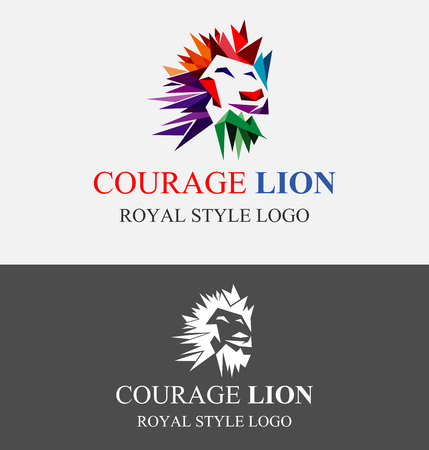 Abstract Valiant Lion King Logo Design Template