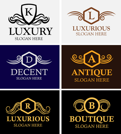 Luxury logo set. Calligraphic pattern elegant decor elements