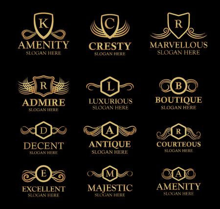 Luxe logo set. Kalligrafisch patroon elegante decorelementen