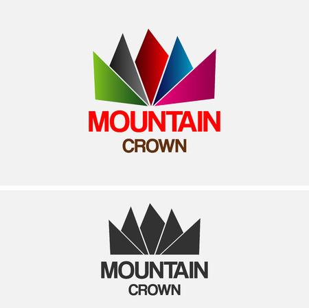 navy blue background: Mountain Crown Logo Design