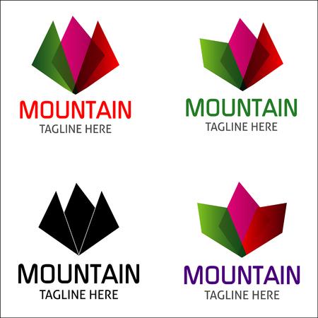 kleurrijke berg logo Bergen landschap en zon pictogram vector design