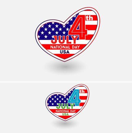 Verenigde Staten Flag Heart. USA National Day 4 juli