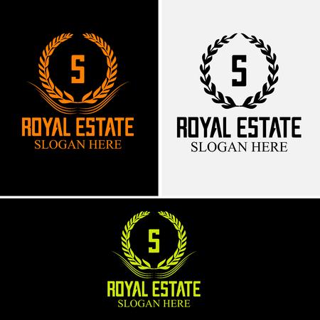 Royal Estate-logo. Decoratief frame met laurier en lint voor ontwerp van brieflogo