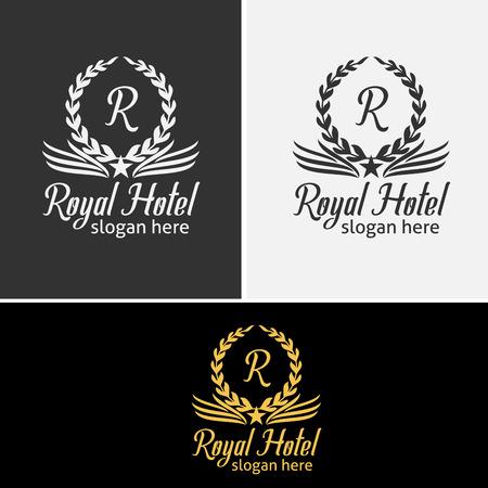 Royal Hotel Logo Template Met Laurelkransen Pictogrammen Stock Illustratie