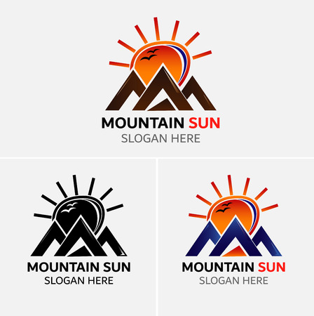 wilderness area: Mountains logo vector with sun icons