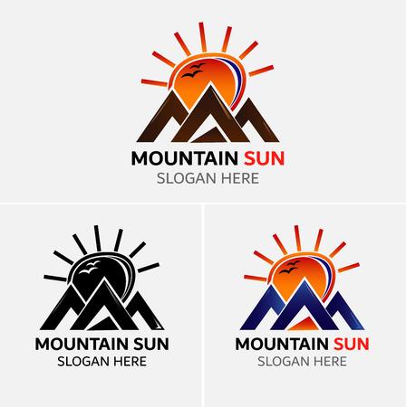 Mountains logo vector with sun icons