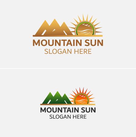 Gouden Bergen logo vector met zon iconen