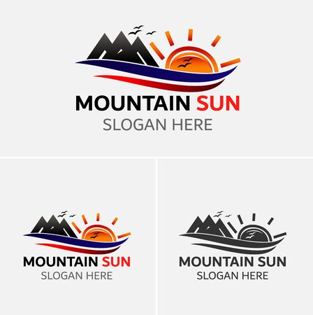 rocky road: Mountains logo vector with sun icons