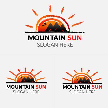 Bergen logo vector met zon iconen