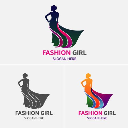 Mode meisjes Logo sjabloon Stock Illustratie