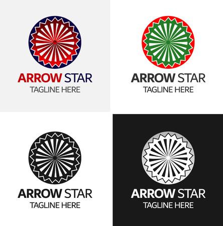 Arrow Star Logo sjabloon Vector iconen Elements Design Stock Illustratie