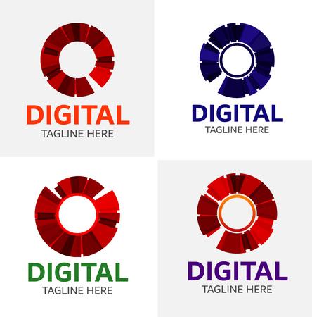 Digitale Media Vector Logo Sjabloon Stock Illustratie