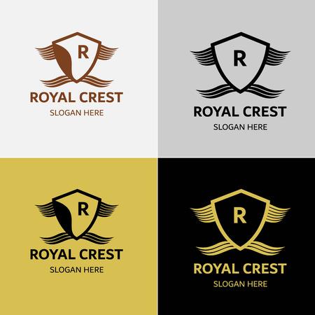 Königliche luxuriöse Wappen Logos Standard-Bild - 84220551