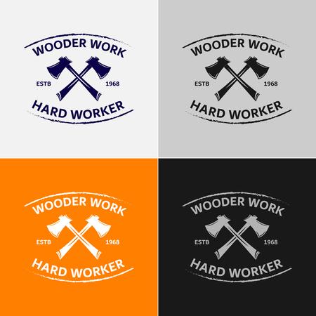 Wood Work logo badges illustratie.