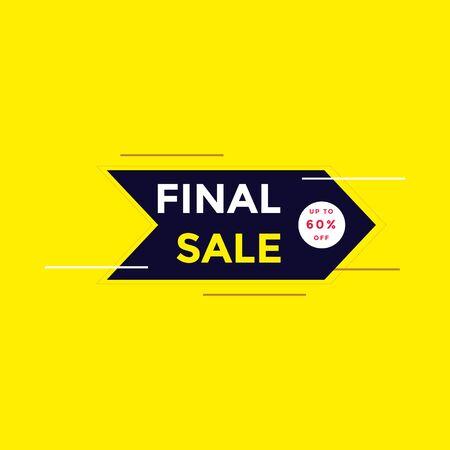 Final sale banner, special offer up to 60% off. Vector illustration