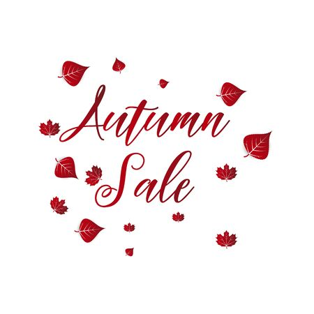 Advertising discount banner with fallen leaves.