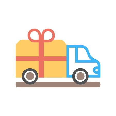 Vector Delivery Truck and Gift Box Icon