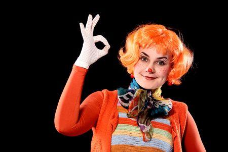 Clown girl showing