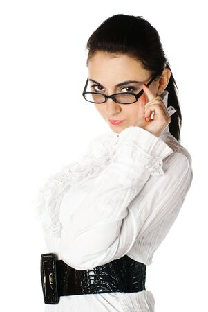 Portrait of a woman with glasses. White background. Studio shot.