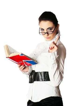Portrait of a young woman with book and glases. White background. Studio shot.