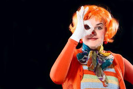 Portrait of clown. White background. Studio shot. photo