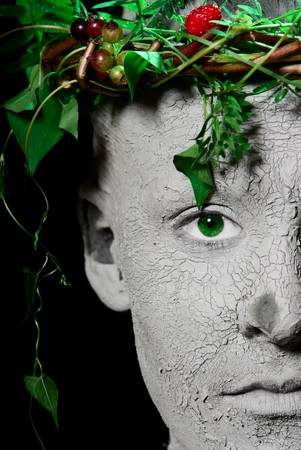 Mother Earth portrait. Black Background. Studio shot. Banco de Imagens