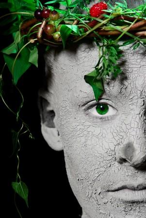 Mother Earth portrait. Black Background. Studio shot. Stock Photo