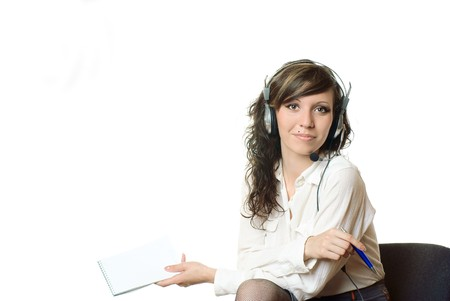 Business woman with headphones. Studio shot. White background. photo