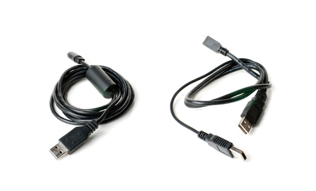 Two USB cables. Isolated on white background.