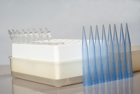 eppendorf: Set of eppendorf tubes and pipet tips. Stock Photo