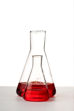 Two flasks with red liquid. Stock Photo - 8803423