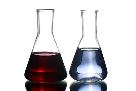 Two laboratory flasks with liquis. Stock Photo - 8945519