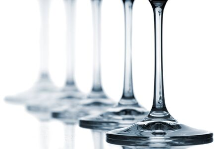 Set of wine glasses on white background