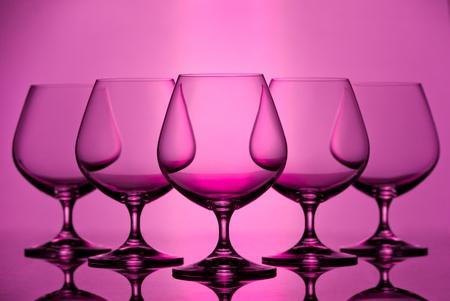 Set of empty brandy goblets  Studio shot Stock Photo
