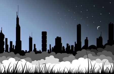 sity: Picture of modern big sity in the night with fog and grass silhouettes  Illustration