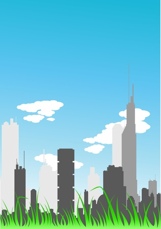 Vector picture of modern big city with grass in the front Stock Vector - 21962940