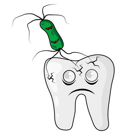 vector picture of tooth that was attacked by angry bacteria Stock Vector - 23039555
