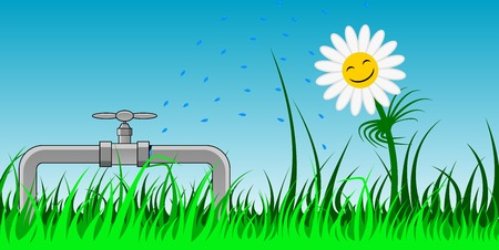 Vector picture of a camomile that taking shower of water exuding from valve break Stock Vector - 23039557