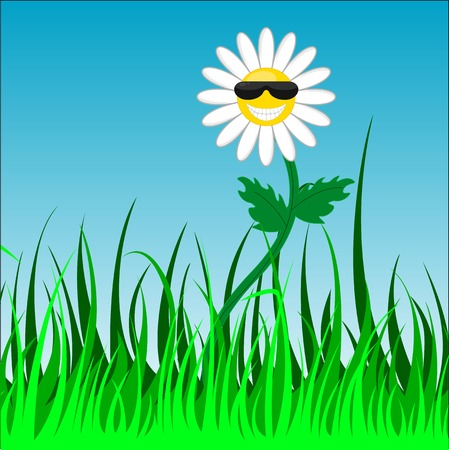 Vector picture of a funky chamomile with sunglasses Stock Vector - 23039559