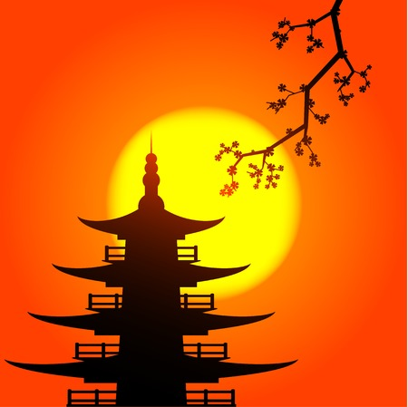 Vector pocture of pagoda and skura silhouettes with the rising sun on background Vector