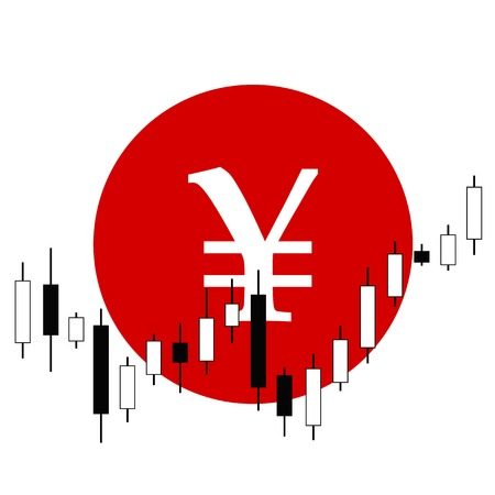 Vector picture of candlestick graph with yen sign on background Vector