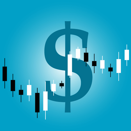 Vector picture of candlestick graph with dollar sign on background