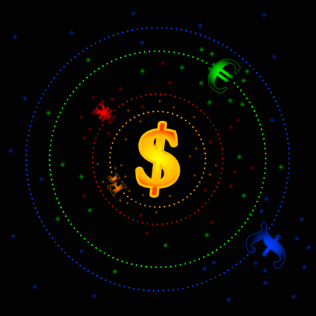 Vector picture that represent forex market as a solar system