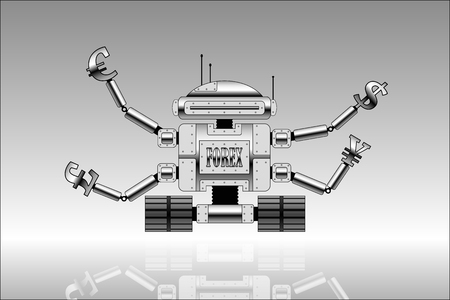 Vector picture of robot with currencies signs at the end of hands  Forex theme